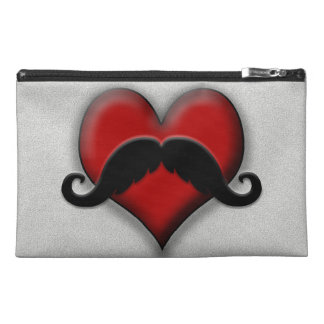 Mustache Red Heart Travel Accessory Bag