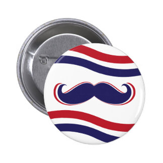 Mustache - Red, White and Blue Pinback Button