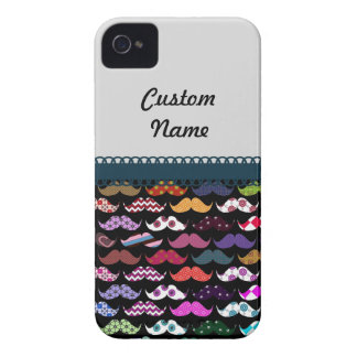Mustache Retro Pattern Personalized Custom Name iPhone 4 Case-Mate Cases