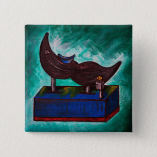 Mustache Ride Twisted Funny Painting Original Art Button