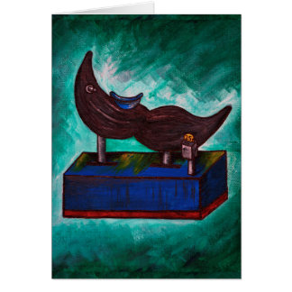 Mustache Ride Twisted Funny Painting Original Art Card