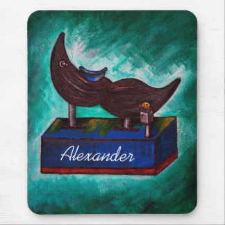 Mustache Ride Twisted Funny Painting Original Art Mouse Pad