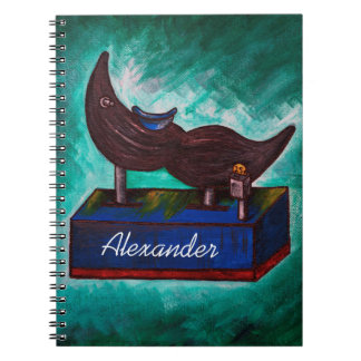 Mustache Ride Twisted Funny Painting Original Art Notebook
