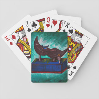 Mustache Ride Twisted Funny Painting Original Art Playing Cards