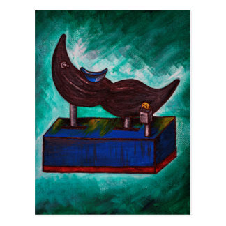 Mustache Ride Twisted Funny Painting Original Art Postcard