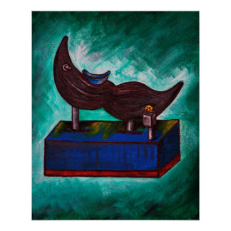 Mustache Ride Twisted Funny Painting Original Art Poster