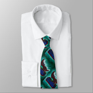 Mustache Ride Twisted Funny Painting Original Art Tie