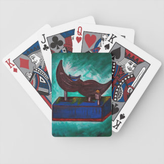Mustache Ride Twisted Humor Painting Original Art Bicycle Playing Cards