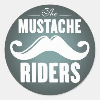 Mustache Riders Stickers- Round 3 inch