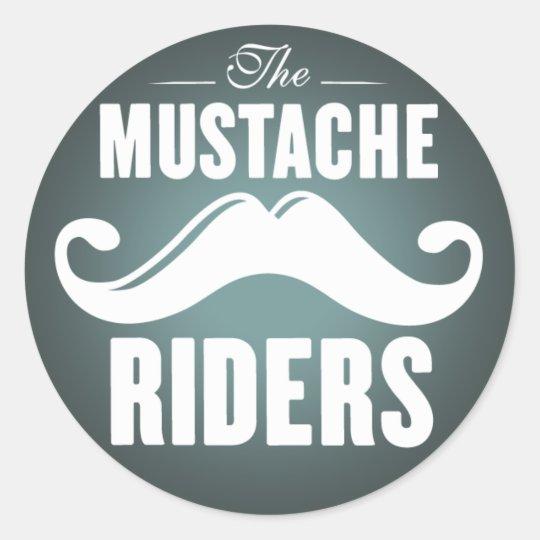 Mustache riders stickers round 3 inch classic round sticker
