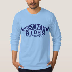 Men's American Apparel Fine Jersey Long Sleeve T-Shirt with 50c Mustache Rides design