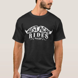 Men's Basic Dark T-Shirt with 50c Mustache Rides design