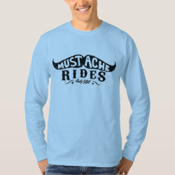 Men's Basic Long Sleeve T-Shirt with 50c Mustache Rides design