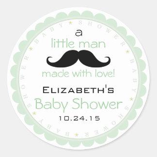 Mustache Sage Green Baby Shower Classic Round Sticker