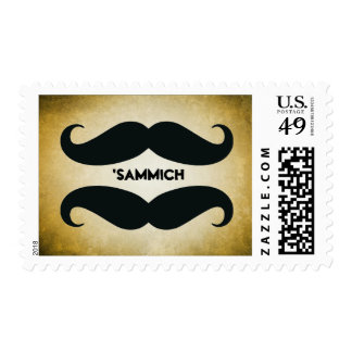 Mustache Sandwich Funny Postage Stamps