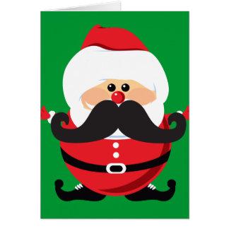 Mustache Santa Claus Card