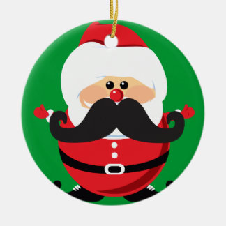 Mustache Santa Claus Ceramic Ornament