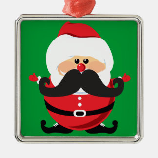 Mustache Santa Claus Metal Ornament