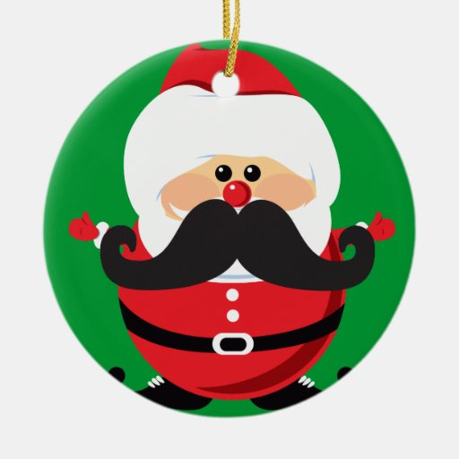Mustache Santa Claus Double-Sided Ceramic Round Christmas Ornament