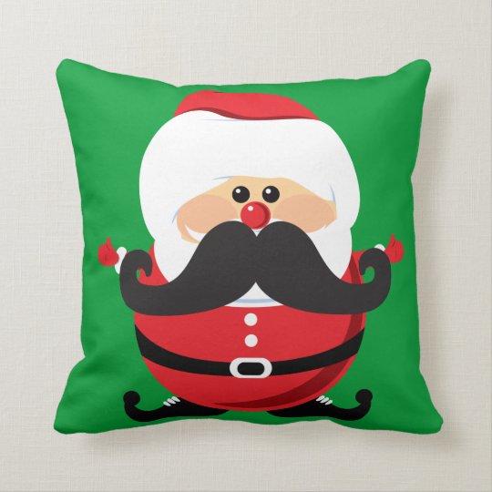 Mustache Santa Claus Throw Pillow