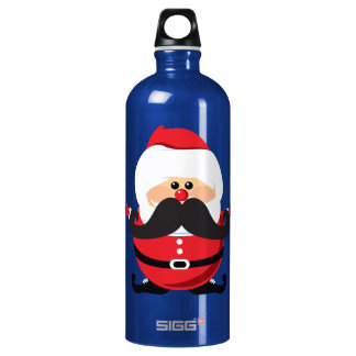 Mustache Santa Claus Water Bottle