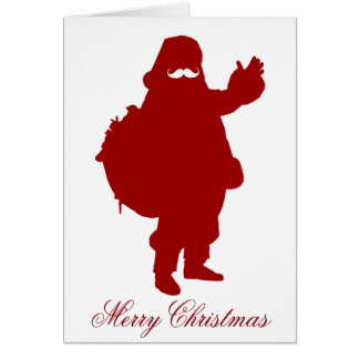 Mustache Santa Merry Christmas Holiday Greeting Card