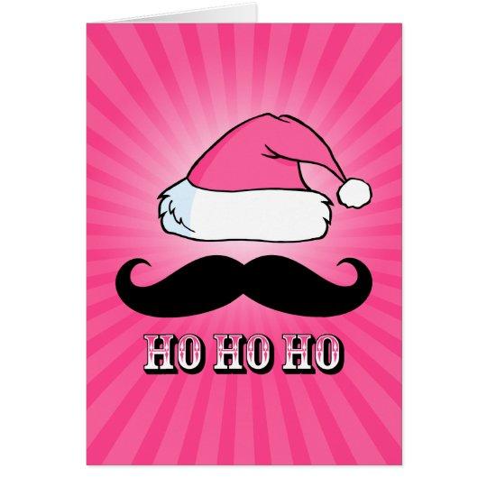 Mustache Santa Pink Card