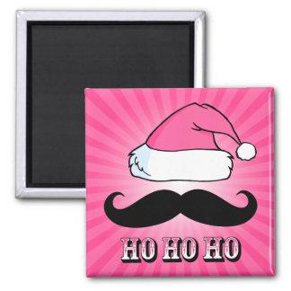 Mustache Santa Pink Magnet