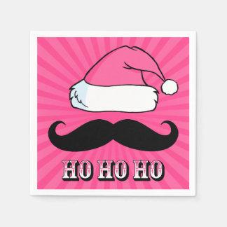 Mustache Santa Pink Napkin