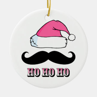 Mustache Santa Pink Christmas Tree Ornament