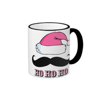 Mustache Santa Pink Ringer Coffee Mug