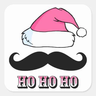 Mustache Santa Pink Square Sticker