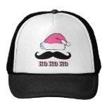 Mustache Santa Pink Trucker Hats