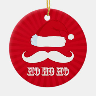 Mustache Santa Red Ornaments