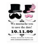 Mustache Save The Date Card Postcard