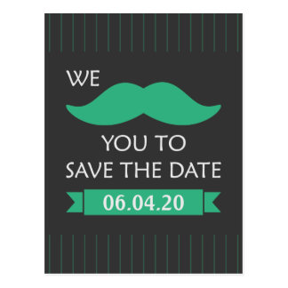 Mustache Save the Date Postcards