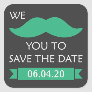 Mustache Save the Date Stickers