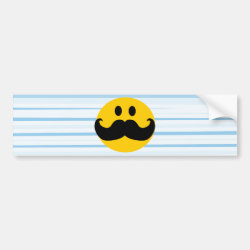 Bumper Sticker with Mustache with Monocle Smiley design