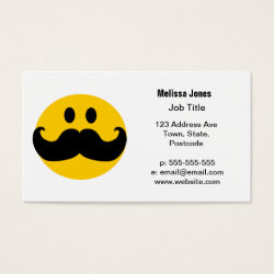 Business Card with Mustache with Monocle Smiley design