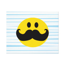 Premium Wrapped Canvas with Mustache with Monocle Smiley design