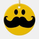 Mustache Smiley Ceramic Ornament