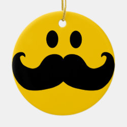 Circle Ornament with Mustache with Monocle Smiley design