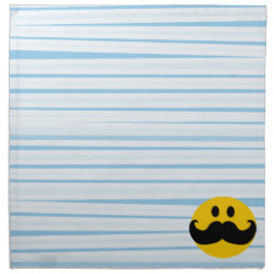 Cloth Napkins (set of 4) dinner 20' x 20' with Mustache with Monocle Smiley design