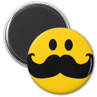 Mustache Smiley (Customizable background color) 2 Inch Round Magnet