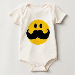 Infant Organic Creeper with Mustache with Monocle Smiley design