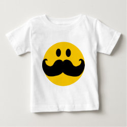Baby Fine Jersey T-Shirt with Mustache with Monocle Smiley design