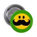Mustache Smiley (Customizable background color) Pinback Button