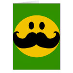Mustache Smiley (Customizable background color) Card