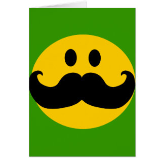 Mustache Smiley (Customizable background color) Greeting Cards