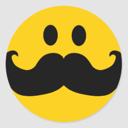 Round Sticker with Mustache with Monocle Smiley design